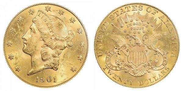 1901 S Liberty Head $20 Gold Double Eagle - Twenty Dollars