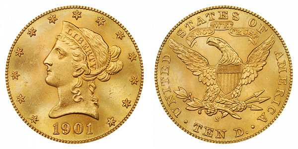 1901 S Liberty Head $10 Gold Eagle - Ten Dollars