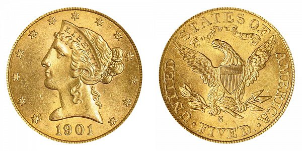 1901 S Liberty Head $5 Gold Half Eagle - Five Dollars