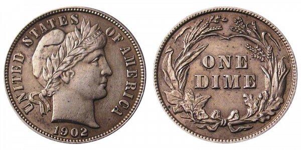 1902 Silver Barber Dime