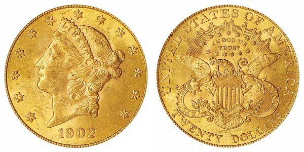 1902 Liberty Head $20 Gold Double Eagle - Twenty Dollars