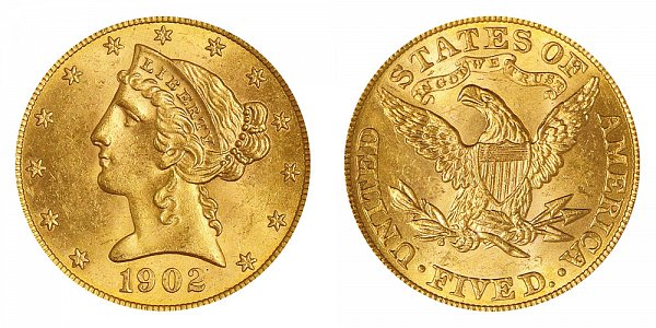 1902 Liberty Head $5 Gold Half Eagle - Five Dollars
