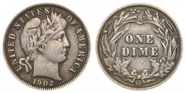 1902 O Silver Barber Dime