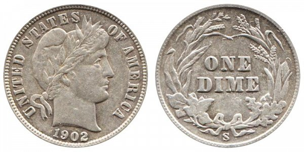 1902 S Silver Barber Dime