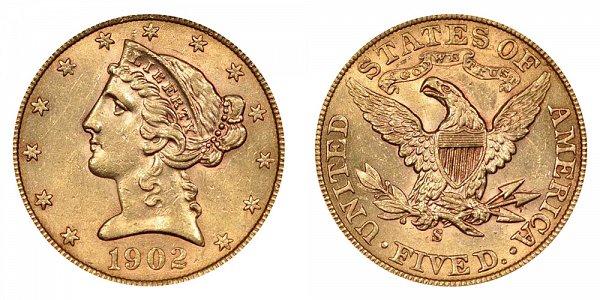 1902 S Liberty Head $5 Gold Half Eagle - Five Dollars