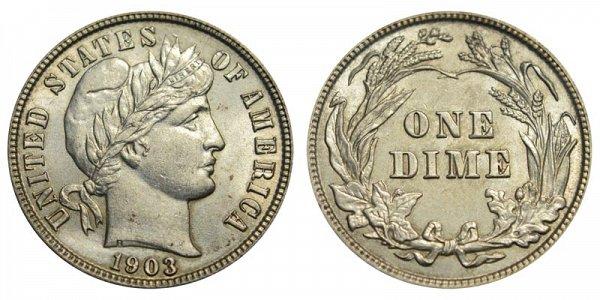 1903 Silver Barber Dime