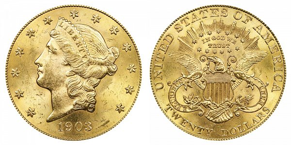 1903 Liberty Head $20 Gold Double Eagle - Twenty Dollars