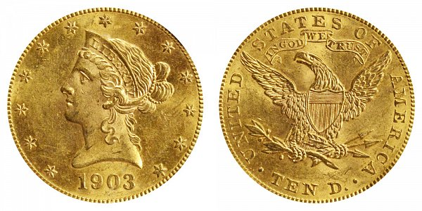 1903 Liberty Head $10 Gold Eagle - Ten Dollars