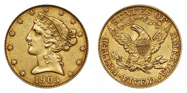 1903 Liberty Head $5 Gold Half Eagle - Five Dollars