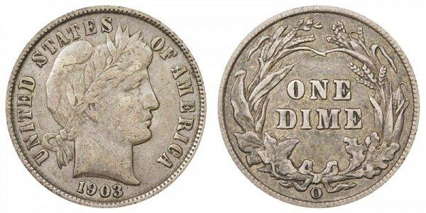 1903 O Silver Barber Dime