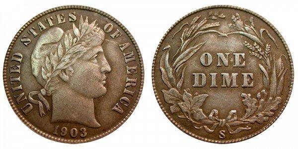 1903 S Silver Barber Dime