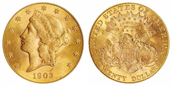 1903 S Liberty Head $20 Gold Double Eagle - Twenty Dollars