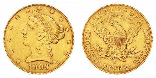 1903 S Liberty Head $5 Gold Half Eagle - Five Dollars