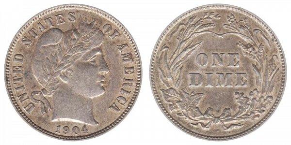 1904 Silver Barber Dime