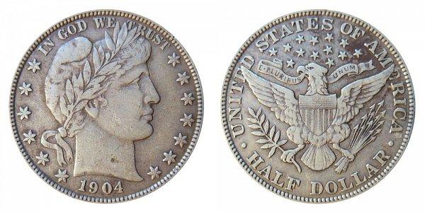1904 Barber Silver Half Dollar