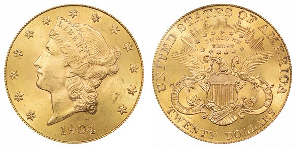 1904 Liberty Head $20 Gold Double Eagle - Twenty Dollars