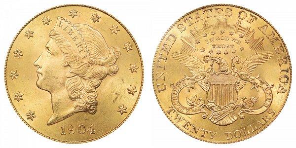 1904 Liberty Head $20 Gold Double Eagle - Twenty Dollars