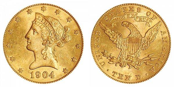 1904 Liberty Head $10 Gold Eagle - Ten Dollars