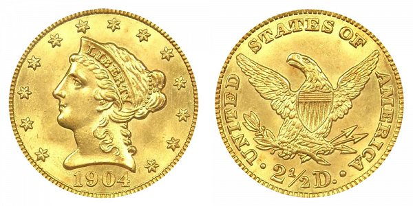 1904 Liberty Head $2.50 Gold Quarter Eagle - 2 1/2 Dollars