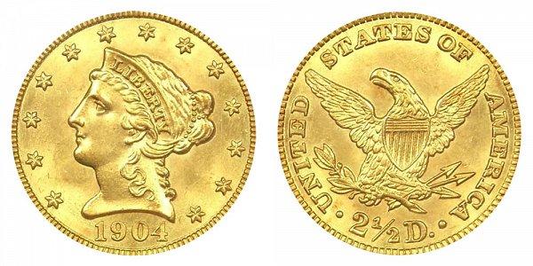 1904 Liberty Head $2.50 Gold Quarter Eagle - 2 1/2 Dollars