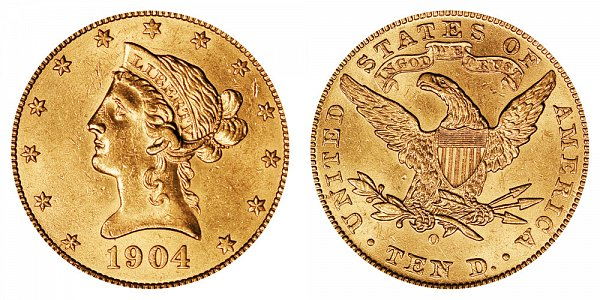 1904 O Liberty Head $10 Gold Eagle - Ten Dollars