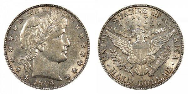 1904 S Barber Silver Half Dollar