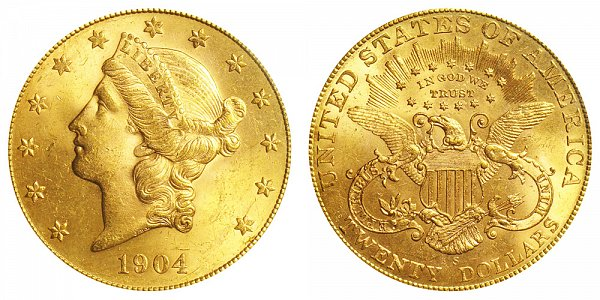1904 S Liberty Head $20 Gold Double Eagle - Twenty Dollars