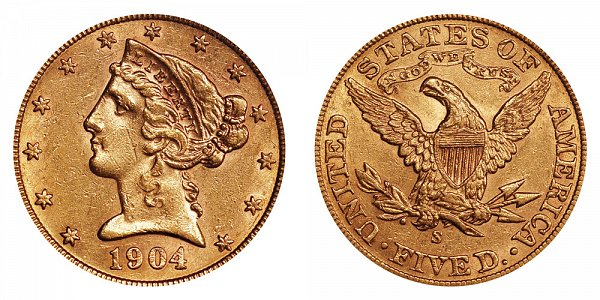 1904 S Liberty Head $5 Gold Half Eagle - Five Dollars