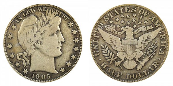 1905 Barber Silver Half Dollar