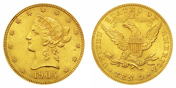 1905 Liberty Head $10 Gold Eagle - Ten Dollars