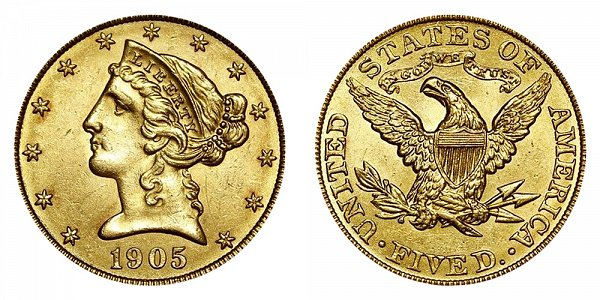 1905 Liberty Head $5 Gold Half Eagle - Five Dollars