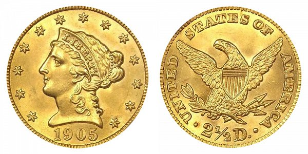 1905 Liberty Head $2.50 Gold Quarter Eagle - 2 1/2 Dollars
