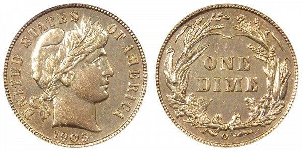 1905 Micro O Silver Barber Dime