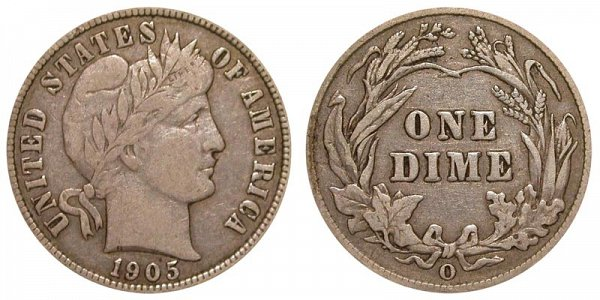 1905 O Silver Barber Dime
