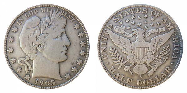 1905 S Barber Silver Half Dollar
