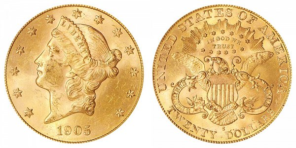 1905 S Liberty Head $20 Gold Double Eagle - Twenty Dollars