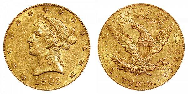 1905 S Liberty Head $10 Gold Eagle - Ten Dollars