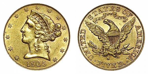 1905 S Liberty Head $5 Gold Half Eagle - Five Dollars