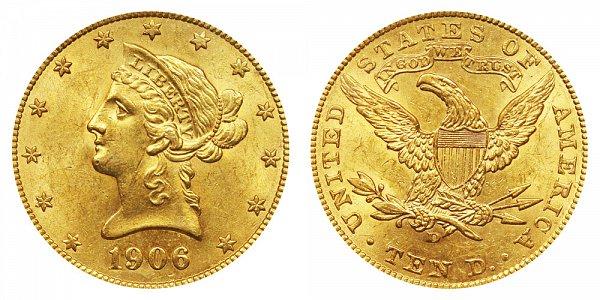 1906 D Liberty Head $10 Gold Eagle - Ten Dollars