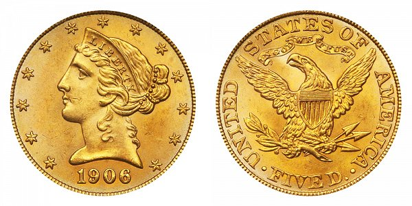 1906 Liberty Head $5 Gold Half Eagle - Five Dollars