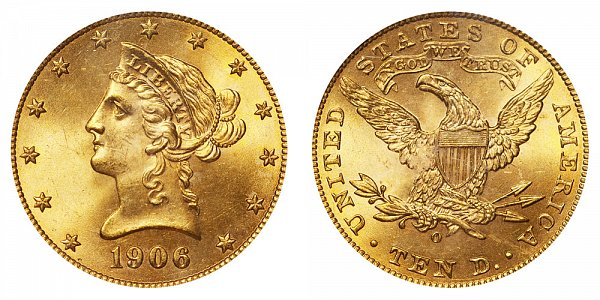 1906 O Liberty Head $10 Gold Eagle - Ten Dollars