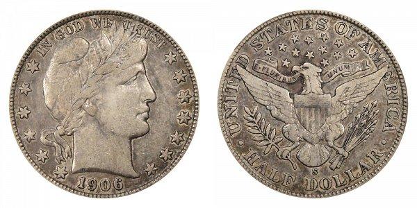 1906 S Barber Silver Half Dollar