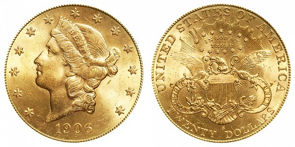 1906 S Liberty Head $20 Gold Double Eagle - Twenty Dollars