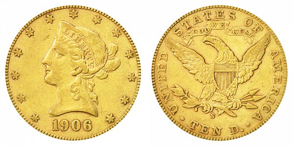 1906 S Liberty Head $10 Gold Eagle - Ten Dollars