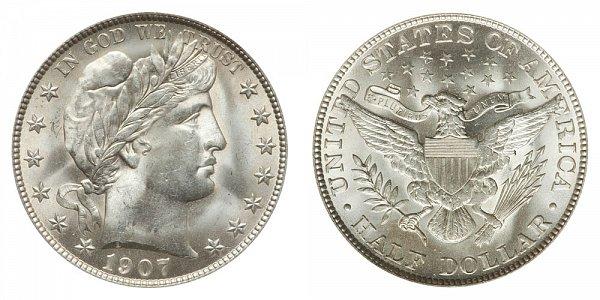 1907 Barber Silver Half Dollar