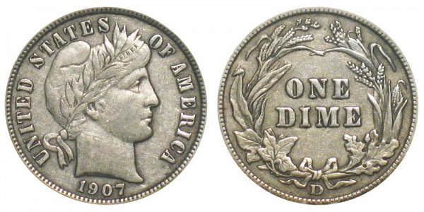 1907 D Silver Barber Dime