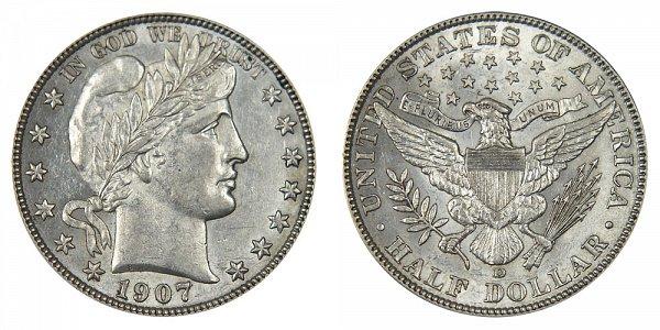 1907 D Barber Silver Half Dollar