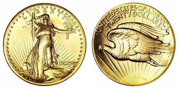 1907 High Relief Flat Rim - Saint Gaudens $20 Gold Double Eagle - Twenty Dollars