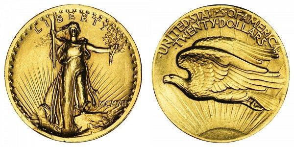 1907 High Relief Plain Edge - Saint Gaudens $20 Gold Double Eagle - Twenty Dollars