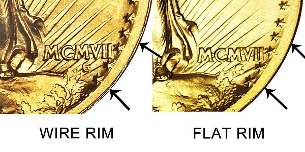 1907 High Relief - Flat Rim vs Wire Rim - $20 Saint Gaudens Gold Double Eagle - Difference and Comparison